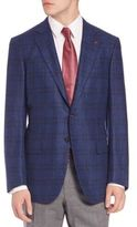 Isaia Tonal Plaid Italian Wool Giacca Blazer