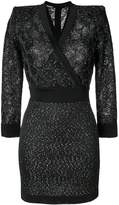 Balmain sequin-embellished knit wrap dress