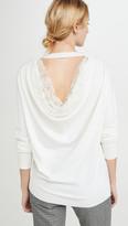 ADAM by Adam Lippes Drape Back Lace Merino Knit