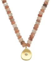 Large Coin Charm Necklace Multi Moonstone