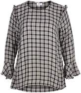 Zizzi Checked Round Neck Blouse With 3/4 Length Sleeves