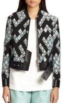 3.1 Phillip Lim Leather-Trim Baseball Jacket