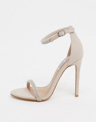 Steve Madden stealth rhinestone stiletto heeled sandals in nude