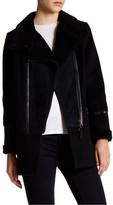 Mackage Genuine Sheepskin & Fur Trim Leather Accent Wool Blend Mod Peacoat
