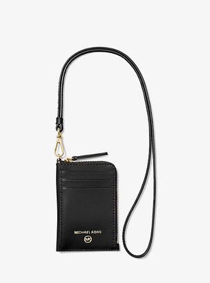 MICHAEL Michael Kors MK Jet Set Small Leather ID Lanyard - Black - Michael Kors