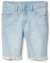 Raw edge bermuda shorts