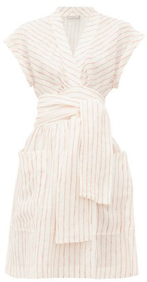 Three Graces London Aurora Striped Linen Wrap Dress - Cream Stripe