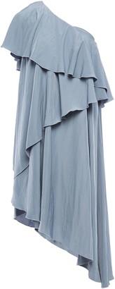 Lanvin One-shoulder Asymmetric Draped Crinkled-crepe Dress