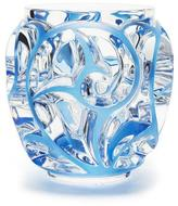Lalique Tourbillons Medium Blue/Clear Vase