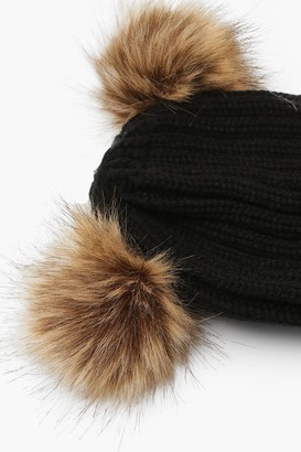 boohoo Rib Knit Beanie With Double Faux Fur Pom