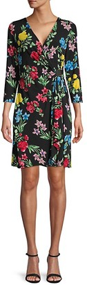 Calvin Klein Floral Faux-Wrap Sheath Dress