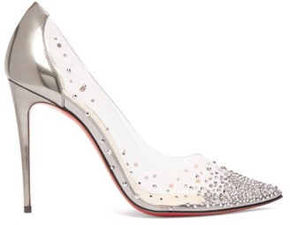 Christian Louboutin Degrastrass 100 Crystal-embellished Pumps - Womens - Dark Grey