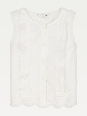 Tommy Hilfiger Organic Cotton Broderie Anglaise Sleeveless Shirt