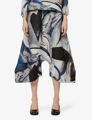 Pleats Please Issey Miyake Musa graphic-print pleated wide-leg high-rise woven trousers