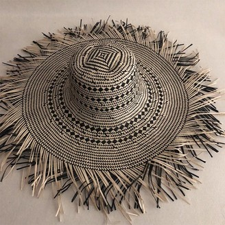 ljpxbb Casual Handmade Women Straw Sun Hat Large Wide Brim Girl Natural Beach Straw Sun Caps for Holiday-7_One_Size