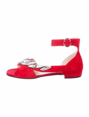 Prada Suede Crystal Embellishments Sandals Red