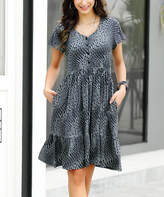 Reborn Collection Women's Casual Dresses Charcoal - Charcoal Abstract Button-Front V-Neck Dress - Women & Plus