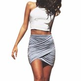 QIYUN.Z Solid Full Pleated Irregular Women Package Hip Club Party Mini Short Skirts