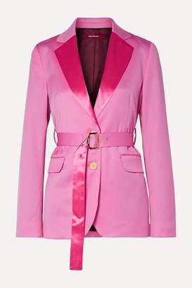 Sies Marjan Terry Belted Satin-trimmed Wool-twill Blazer - Pink