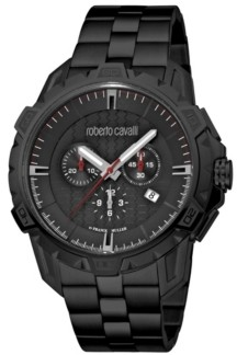 Roberto Cavalli by Franck Muller Men's Swiss Quartz Black Stainless Steel Bracelet Watch 45mm
