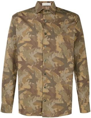 Etro Long-Sleeved Camouflage Print Shirt