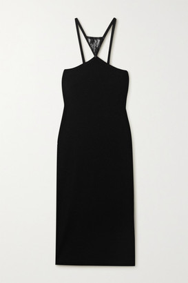 Christopher Kane Lace-paneled Ribbed Stretch-jersey Midi Dress - Black