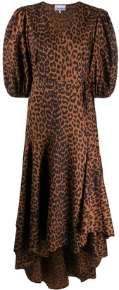 Ganni Leopard Print High-Low Hem Dress