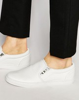 Asos Slip On Sneakers in White Pyramid With Zips