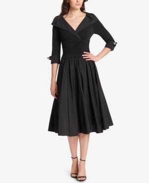 Jessica Howard Petite Portrait-Collar Fit & Flare Dress