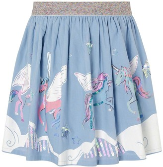 Monsoon Girls Sequin Cloud Unicorn Print Skirt - Blue