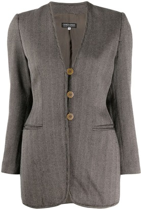 Giorgio Armani Pre-Owned 1990's Herringbone Pattern Slim Jacket