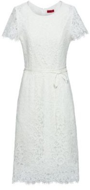 HUGO BOSS Scoop-neck dress in lace with organic cotton