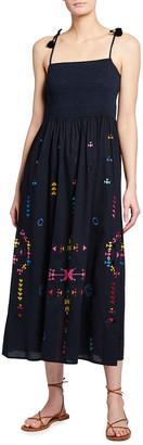 Figue Azalea Embroidered Tie-Strap Maxi Dress