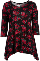 Glam Black & Red Floral Sidetail Top - Plus