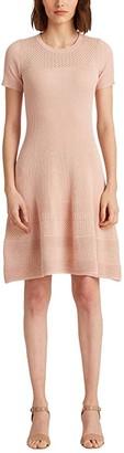 Lauren Ralph Lauren Linen Blend Short Sleeve Dress (Pink Hydrangea) Women's Clothing