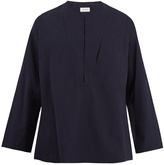 Lemaire Collarless cotton-poplin shirt