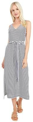 Vineyard Vines Striped V-Neck Maxi Dress (White Cap/Jet Black) Women's Dress