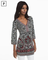 White House Black Market Petite Three-Quarter Sleeve Paisley Printed Tunic
