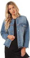 Cheap Monday New Women's Tromber Denim Jacket Cotton Leather Blue
