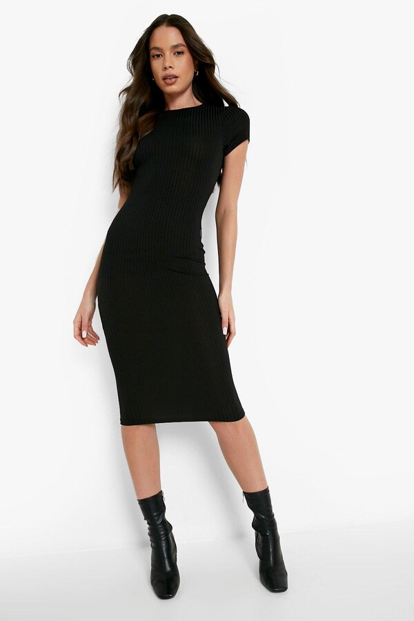 boohoo Cap Sleeved Ribbed Bodycon Dress