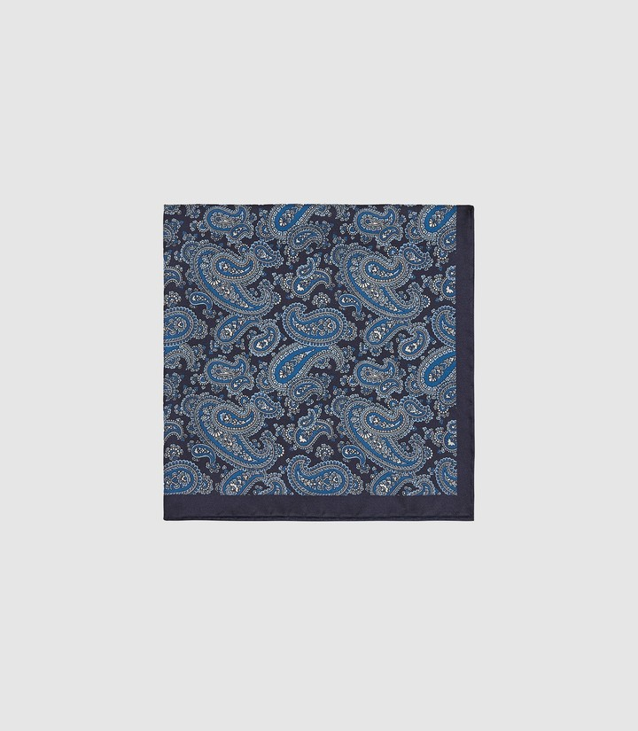 Reiss FARRELL SILK PAISLEY POCKET SQUARE Blue