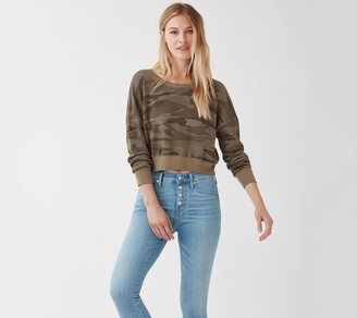Splendid Thermal Camo Cropped Sweatshirt
