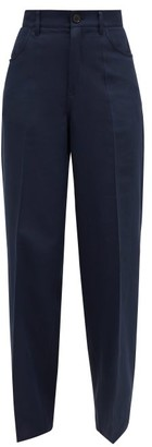 Jil Sander High-rise Cotton-blend Trousers - Womens - Navy