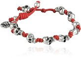 King Baby Studio Red Knotted Cord with Small Skulls Bracelet