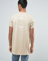 Asos Super Longline T-shirt With Circular Text Back Print In Beige