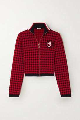 Miu Miu Cropped Appliqued Houndstooth Jacquard-knit Jacket - Red