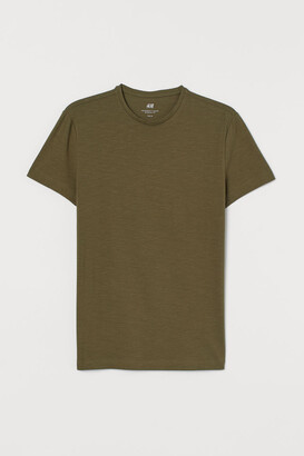 H&M Crew-neck Muscle Fit T-shirt - Green