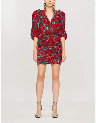 Magda Butrym Mundo floral-print velvet mini dress
