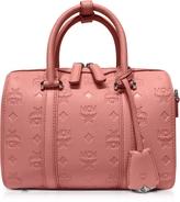 MCM Small Pink Blush Signature Monogrammed Leather Boston Bag