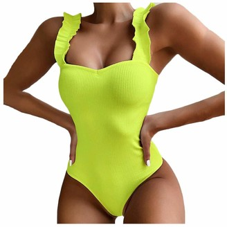 waitFOR Women Summer Swimwear Ruffle Strap One Piece Swimsuit Ladies Solid Color Jumpsuit Push-Up Beach Bikini Women's Overalls Rompers Playsuit Siamese Pants Beachwear Yellow